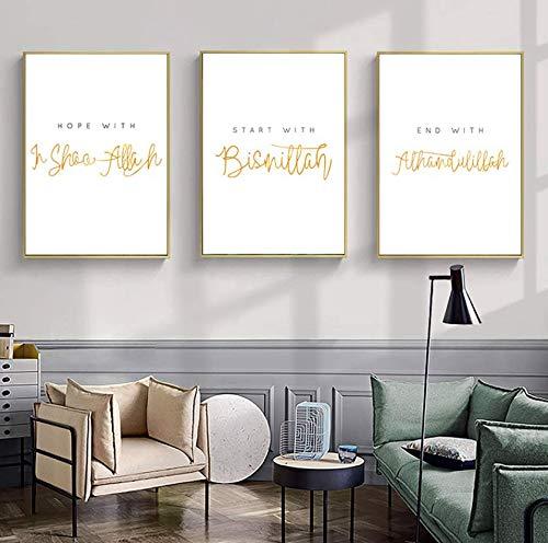 Nologo Leinwandbilder Islamische Zitate Wandkunst Poster und Druck Allah Bismillah muslimische Leinwand Malerei Religion Bild Moderne Wohnzimmer Dekoration 40cmx60cmx3 STK.Kein Rahmen