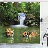 Cortina de Ducha Safari, Tigres siberianos en Agua, Cascada, Piscina, Bosque, natación Natural, Tela de Tela, decoración de baño con Ganchos, Verde Blanco