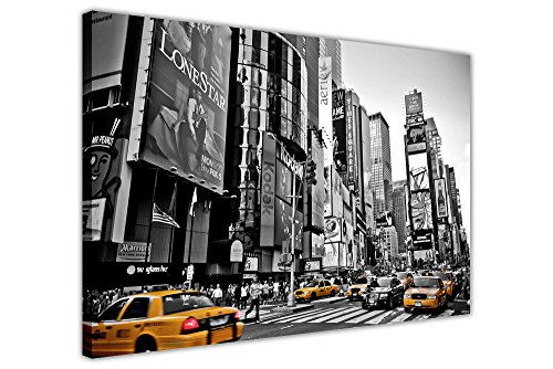 Canvas It Up Stampa Artistica da Parete su Tela, Motivo: Taxi Gialli a New York, Foto in Bianco e Nero, Arte Moderna