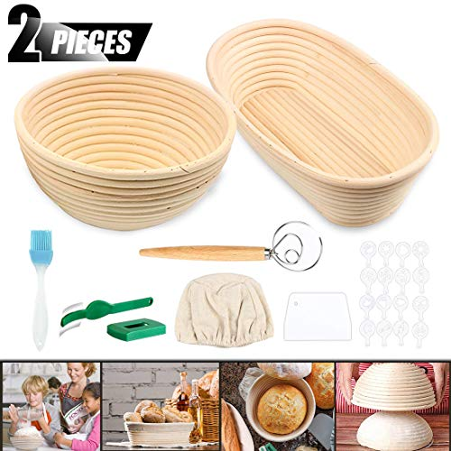 ACTENLY 10' Round + 10' Oval Shaped Bread Banneton Proofing Basket for Sourdough, Includes Cloth Liner + Bread Lame +Whisk+Scraper+Stencils for Professional and Bread Making Starter (10'Round+10'Oval)