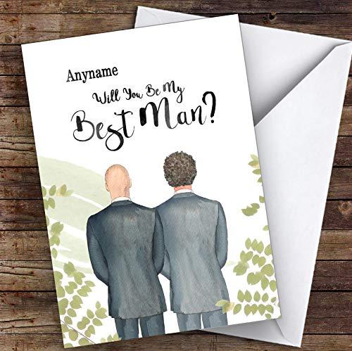 Kaal wit krullend bruin haar zal je mijn beste man gepersonaliseerde groeten trouwkaart