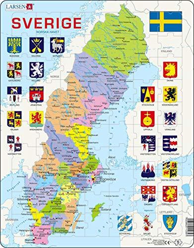 Larsen A7 Mapa Político de Suecia, edición en Sueco, Puzzle de Marco con 70 Piezas