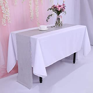 TRLYC Silver Sequin Tablecloth 108 inches 12''x108''