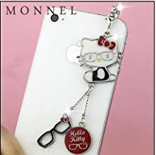 Red Hello Kitty Glasses Style Dust Plug-Earphone Jack Accessories for Iphone 4 4s/ipad/ipod Touch/samsung/other 3.5mm Ear Jack (1 Piece) IP50