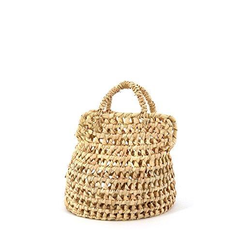 Rouven / Rut 18 Palm Basket Bohemian Tote Bag Korb/Beige/Ibiza Strand Bastkorb Basttasche Mini Tasche Handtasche/XS/geflochten modern chic puristisch (18x16x15cm)