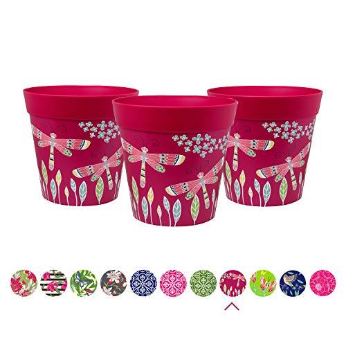 Pots pour Plantes Hum, Lot de 3, Rose, libellules, 15cm x 15cm jardinières colorées, Pots en Plastique d'extérieur/d'intérieur (14 modèles Disponibles)