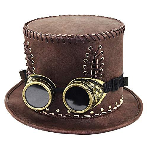 HANFEI Zylinder, Unisex, Mit Brille, Steampunk-Hut, Retro-Gentleman-Hut, Rollenspielzubehör Für Die Halloween-Karnevalsparty
