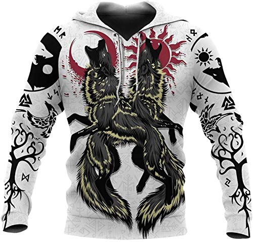 DFWY Viking Yggdrasil Tree of Life Celtic Wolf Tattoo Print Hoodie Pullover, Nordic Rune Totem Hooded Pocket Sweatshirts,Handmade Middle Ages Charm Sportswear (Color : A, Size : Medium)