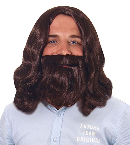 Men's Biblical Jesus Wigs and Beard Set for Cosplay Costume, Brown