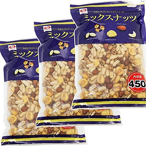 ミックスナッツ 大袋 ミツヤ 450g 3袋セット 5種類のナッツ おつまみ チャック付き ビール