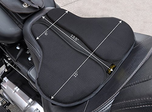 SKWOOSH Classic Saddle Motorcycle Gel Seat Cushion Cooling Mesh Breathable Fabric | Accessories | Made in USA (Long)