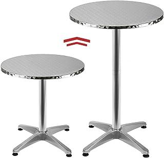 Deuba Table Haute 4 Pieds Table Ronde de Bar Table de Bistrot Table de Jardin Mange Debout Table à Cocktail Hauteur réglab...