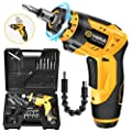 Cordless Screwdriver, VIGRUE Electric Screwdriver, Rechargeable 4V MAX 2000mAh Li-ion, with 45 Free Accessories, Battery Indicator, 6 Torque Setting, 2 Position Handle with LED Light, Flexible Shaft from VIGRUE