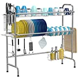iSPECLE Over The Sink Dish Drying Rack, 2-Tier Large 201 Stainless Steel Dish Rack with Utensil Holder Hooks Stable Bend Foot for Kitchen Counter Non-Slip