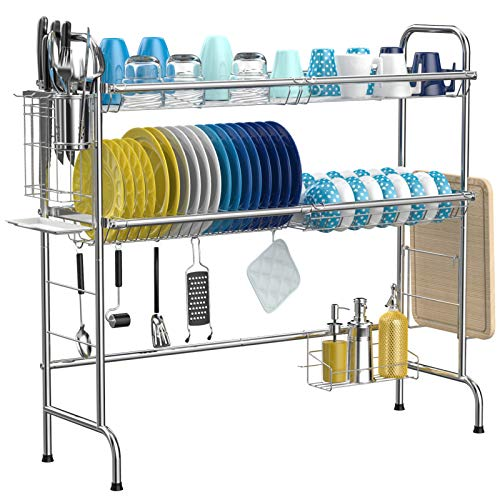 Over The Sink Dish Drying Rack, iSPECLE 2-Tier Large 201 Stainless Steel Dish Rack with Utensil Holder Hooks Stable Bend Foot for Kitchen Counter Non-Slip