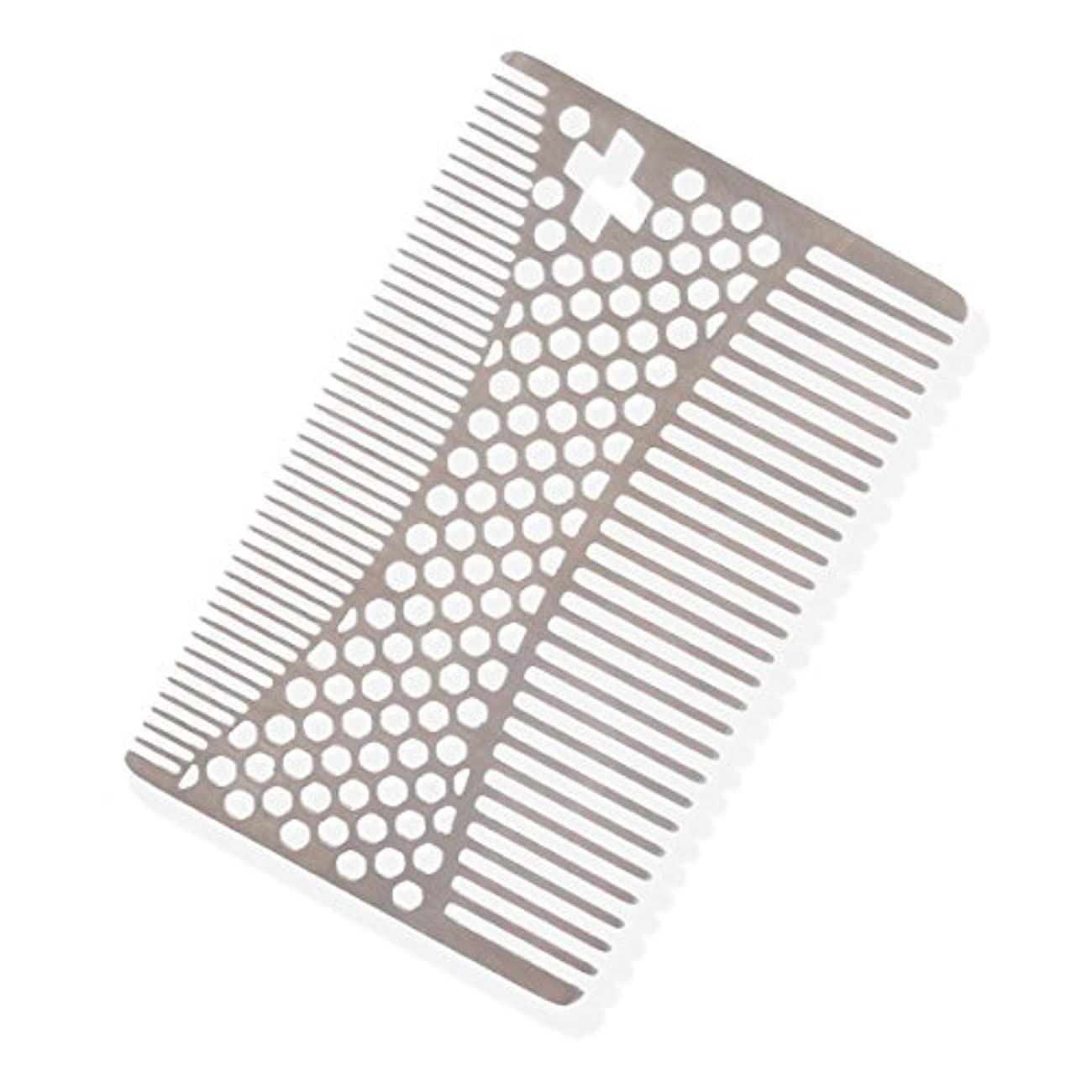 一般的なこねる商人SHARPSWISS Credit Card Pocket Men Hair and Beard Comb Short - Stainless Steel [並行輸入品]
