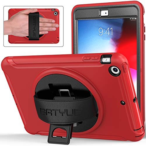 iPad Mini Case, iPad Mini 2 Case, iPad Mini 3 Case, BATYUE Rugged Shockproof Protective Case with 360 Degrees Rotatable Kickstand/Leather Hand Strap for Apple iPad Mini 1st/2nd/3rd Generation (Red)