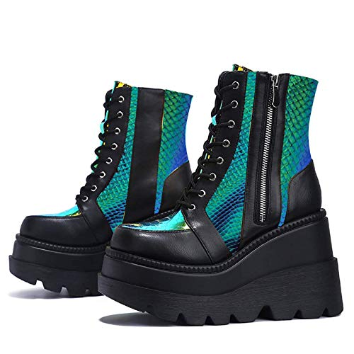 Lace Up Ankle Boots for Women, Round Toe Colorful Wedge Chunky High Heel Side Zipper Platform Non-Slip Combat Boots Black