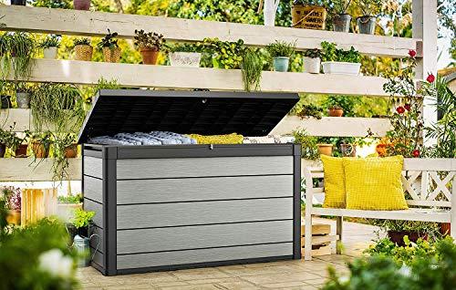 Koll Living Aufbewahrungsbox Maxi, 757 Liter - hochwertige Gartenbox mit Gasdruckfedern - viel trockener Stauraum für Sitzauflagen oder Gartengeräte - 100% wasserdicht