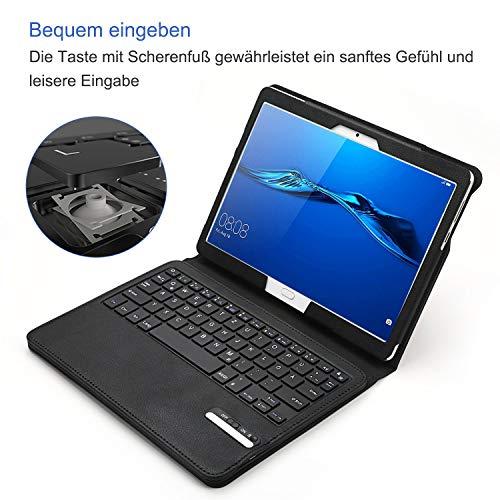 Jelly Comb Bluetooth Tastatur Hülle für Huawei MediaPad M3 Lite 10.1 Zoll, Kabellose Abnehmbare QWERTZ Tastatur mit Schützhülle für Huawei Android Tablet M3 25,6cm (10,1 Zoll), Schwarz - 5