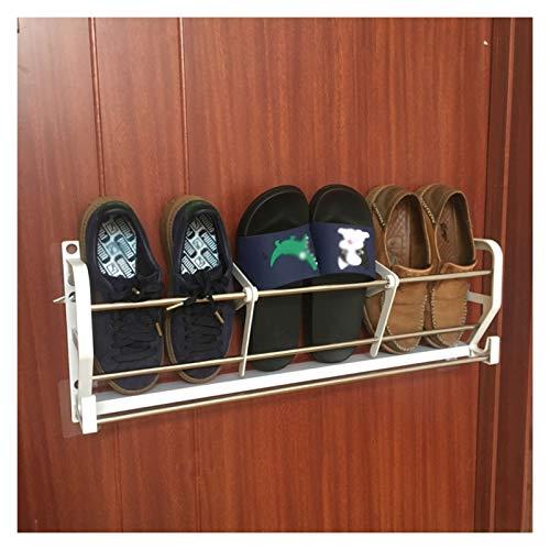 Soporte De Acero Inoxidable Montado En La Pared Save Space Space Bathroom Rack Punch-Libre Zapato Estante De Zapatos con Gancho para La Puerta De La Puerta De La Casa De La Casa De Lavandería, Blanco
