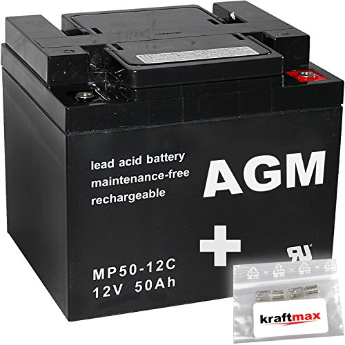 kraftmax 1x AGM 12V / 50Ah Blei-Akku - MP50-12C [ M6 - Innengewinde ] Zyklenfest inkl. 2X Original Anschluß-Adapter