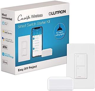 کیت شروع کننده سوئیچ هوشمند Lutron Caseta | با Alexa ، Apple HomeKit و دستیار Google کار می کند. | P-BDG-PKG1WS | سفید