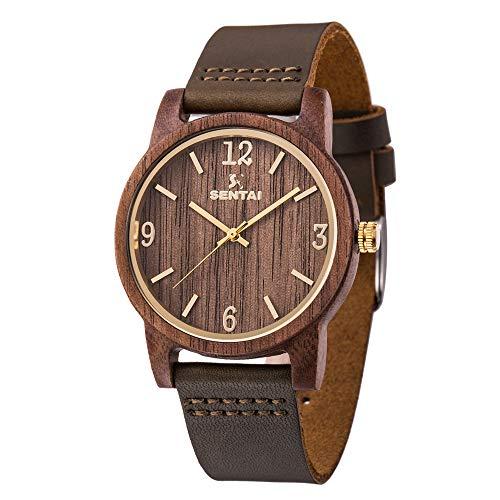 Sentai Herren Holz Armbanduhr Classic Analoge Japanisch Quarzwerk Uhren mit Lederband für Herren Damen schön verpackte Box ideal für Freund, Vater, Ehemann Geschenke