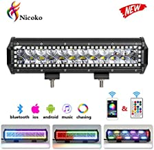 Nicoko 12 inch 72w Led Light Bar with Chasing RGB Halo 10 solid Multi-colors over 72 Flashing modes for Driving Fog Lamp Offroad Suv Atv Truck Boat Free wiring harness 1 year warranty