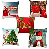 Meet National Set of 5 Decorative Christmas Printed Hand Made Jute Throw/Pillow Cushion Covers - (16 X 16 INCHES)