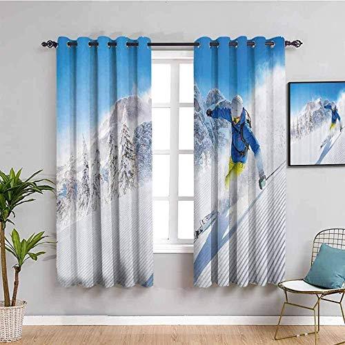 LucaSng Blickdicht Vorhang Wärmeisolierender - Ski Leute Schneeberg - 183x160 cm - Junge mit Mädchen Schlafzimmer Wohnzimmer Kinderzimmer - 3D Digitaldruck mit Ösen Thermo Vorhang