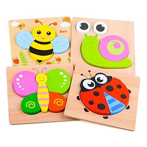 4 Piezas Juguete de Rompecabezas de Animales, Puzzles de Madera Educativos para Bebé, para Niños de 1 2 3 Años, Patrones de Animales para Que los Niños Aprendan Juguetes Educativos, Regalos y Juegos
