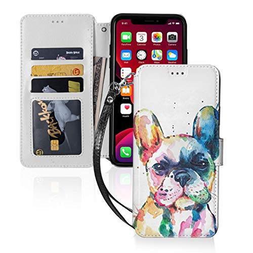 French Bulldog Watercolor Painting iPhone 11 / iPhone 11 Pro Max Wallet Case,Leather Card Case Wallet with Handy Stand Feature,Flip Phone Case Cover