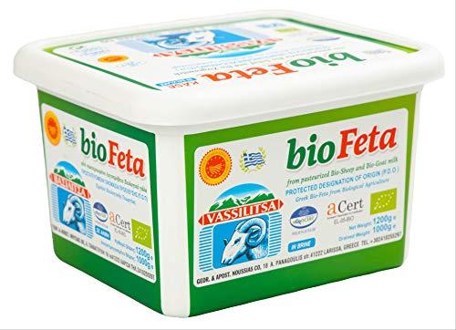 Vassilitsa BIO Feta BIO Schafkäse - 6x 1kg - BIO Fetakäse BIO griechischer Feta Schafskäse in Salzlake Sheep Cheese 43% Fett i.Tr. aus Griechenland 70% Schaf 30% Ziege Plastikbehälter Biologisch