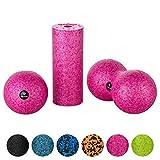 BODYMATE Faszien Mini-Set Fuchsia-Pink - Mini-Faszien-Rolle L15xD6cm, Ball D8cm und Duo-Ball D8cm im...