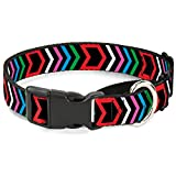 """Buckle-Down Arrows Black/Multi Color Martingale Dog Collar, 1"""" Wide-Fits 15-26"""" Neck-Large"""