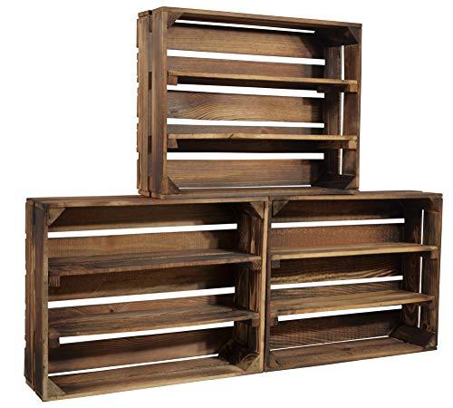 CHICCIE 3 Set Geflammte Holzkiste Schmalhanz - Mit Zwei Langen Regalen Gewürzregal Bücherregal Weinregal 50 x 40 x 15cm