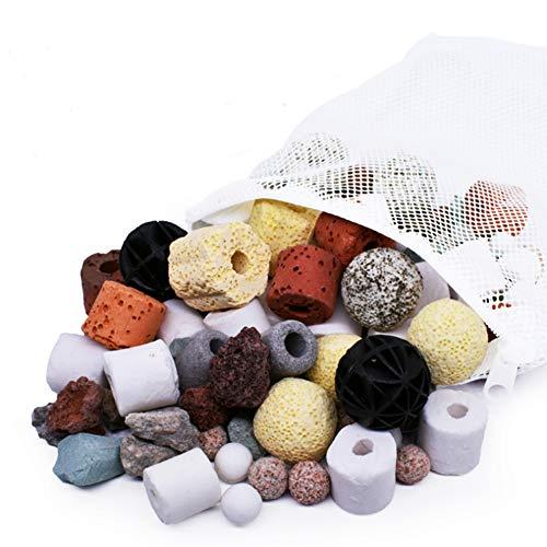 Média Filtrant de Réservoir de Poissons D'aquarium, Anneau en Céramique Bio Ball Porous Filter Matériel de Filtration de Charbon Actif par Boule Biochimique pour Fontaine d'étang (20-en-1, 500g)
