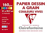 Clairefontaine 96779C - Un pochette Dessin à Grain Etival 12 feuilles 21x29,7 cm 160g, teintes vives assorties