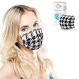 ALB Stoffe® ProtectMe - Einwegmasken HOUNDSTOOTH, 100% Made in Germany, Nasen-Mund-Masken bedruckt, OP Masken bunt, 20er Pack