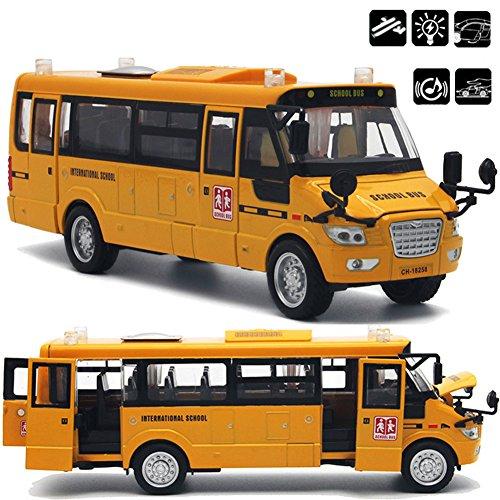 ACHICOO Autobús escolar de aleación fundido a presión grande con puertas abiertas/luces/sonido como regalos de Navidad para niños Gifs