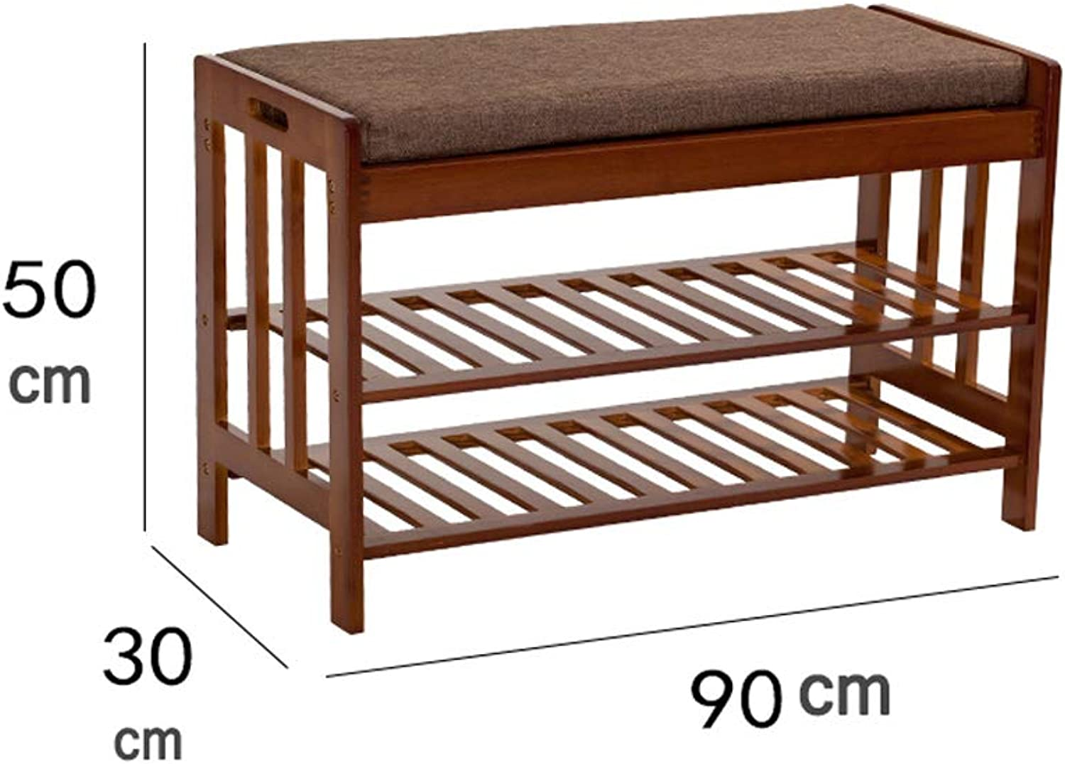 shoes Rack Home 50  30  90cm Solid Wood shoes Storage Stool Assembly shoes Rack Change shoes Bench (color   C)