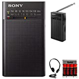 Sony ICFP26 Portable AM/FM Radio (Black) w/Re-Charger, 4 Batteries, and...