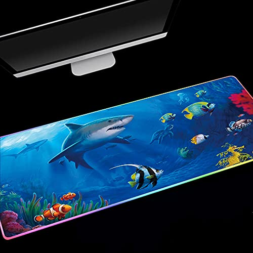 Mouse Pads Blue Ocean World Shark Tropical Fish Clown Fish RGB Gaming Mouse pad LED Backlit XXL Mouse Mat for Desktop Laptop 27.6x11.8 inch