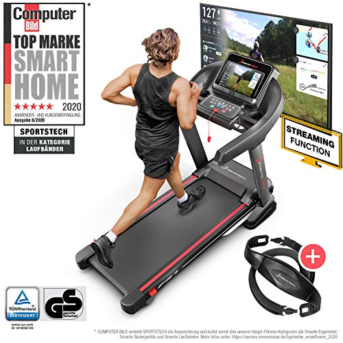Sportstech F37 Profi Laufband bis 20 km/h, Selbstschmiersystem, Smartphone Fitness App, 15 % Steigung, Bluetooth USB MP3, große Lauffläche mit Dämpfungssystem bis 130 Kg - klappbar kompakt verstaubar