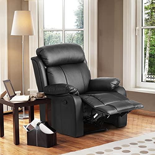 Pannow Power Lift Chair, poltrona reclinabile in pelle imbottita ergonomica comoda sedia reclinabile (nero)