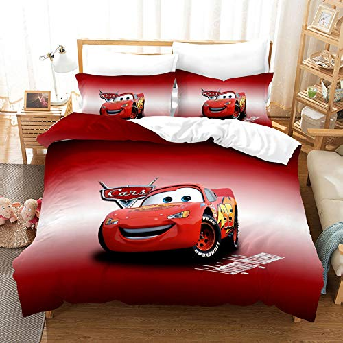 Probuk Disney Pixar Cars – Ropa de cama infantil, 100 % microfibra, ropa de cama de bebé, juvenil y adolescente, funda de edredón y funda de almohada (A-05,220 x 260 cm (50 x 75 cm)