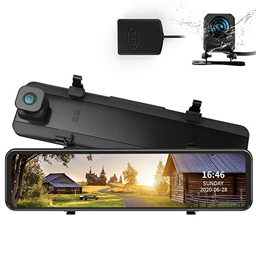 AUTOSOCT 2K Dual Mirror Dash Cam with GPS, Night Vision with Sony IMX335, 12' IPS Touch Screen Front and Rear Car Camera for RHD Cars, Dashboard Camera with Stream Media, Support 128GB SD Card
