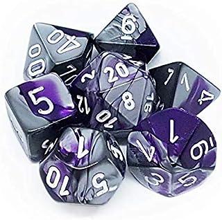Chessex GeminiT Polyhedral 7-Die Set, Purple/Steel/White