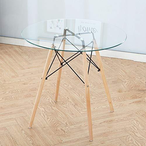ZHILIAN® Nordic Rundtisch Haushalt Gehärtetem Glas Einfache Massivholz Kleinen Runden Tisch Empfangstheke (größe : 70cm)